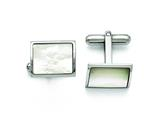 Chisel Stainless Steel Polished Mother Of Pearl Cuff Links style: SRC258