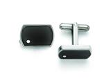 Chisel Stainless Steel Polished Black Enamel And Cz Cuff Links style: SRC268