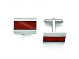Chisel Stainless Steel Polished Red Wood Inlay Cuff Links style: SRC274
