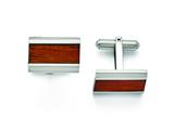 Chisel Stainless Steel Polished Red/orange Wood Inlay Cuff Links style: SRC275