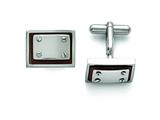 Chisel Stainless Steel Polished Wood Inlay Cuff Links style: SRC279