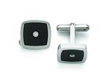 Chisel Stainless Steel Polished Enameled CZ Cuff Links style: SRC284