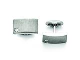 Chisel Stainless Steel Polished And Brushed Cz Cuff Links style: SRC292