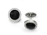 Chisel Stainless Steel Polished With CZ And Onyx Circle Cuff Links style: SRC298