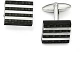 Chisel Stainless Steel Polished And Brushed Carbon Fiber Cuff Links style: SRC303