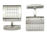 Chisel Stainless Steel Polished Laser Design Cuff Links style: SRC310