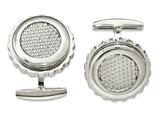 Chisel Stainless Steel Polished Textured Round Cuff Links style: SRC311