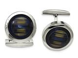"Chisel Stainless Steel Polished Blue Cat""s Eye Cuff Links style: SRC313"