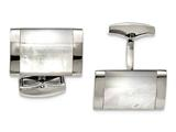 Chisel Stainless Steel Polished Mother Of Pearl Cuff Links style: SRC314