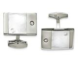 Chisel Stainless Steel Polished Mother Of Pearl CZ Cuff Links style: SRC315