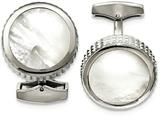 Chisel Stainless Steel Polished Studded Round Mother Of Pearl Cuff Links style: SRC318