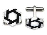 Chisel Stainless Steel Polished Hexagon Mother Of Pearl/blk Agate Cuff Links style: SRC322