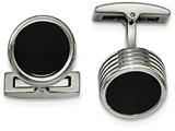 Chisel Stainless Steel Polished Grooved Round Black Ip Cuff Links style: SRC325