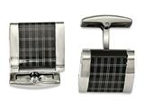 Chisel Stainless Steel Polished Black Ip-plated Laser Design Cuff Links style: SRC326