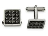 Chisel Stainless Steel Polished Black Ip Studded Cuff Links style: SRC329