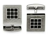 Chisel Stainless Steel Polished Black Rubber Square Cuff Links style: SRC330