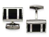 Chisel Stainless Steel Polished Black Rubber Rectangle Cuff Links style: SRC332