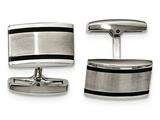 Chisel Stainless Steel Brushed And Polished Black Rubber Rectangle Cuff Links style: SRC335