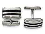 Chisel Stainless Steel Polished Black Rubber Rectangle Cuff Links style: SRC340