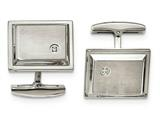 Chisel Stainless Steel Brushed And Polished CZ Rectangle Cuff Links style: SRC352