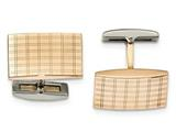 Chisel Stainless Steel Polished Rose Ip Plated Laser Design Cuff Links style: SRC355