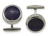 "Chisel Stainless Steel Polished Blue Cat""s Eye Textured Round Cuff Links style: SRC356"