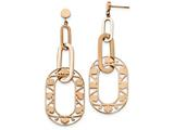 Chisel Stainless Steel Polished Rose Ip-plated Heart Dangle Earrings style: SRE1023