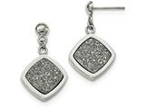 Chisel Stainless Steel Polished With Silver Druzy Post Dangle Earrings style: SRE1025