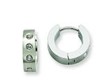 Chisel Stainless Steel CZ Hinged Hoop Earrings style: SRE103