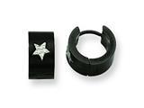 Chisel Stainless Steel Black IP-plated Star Hinged Hoop Earrings style: SRE106