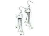 Chisel Stainless Steel Polished Hearts Dangle Earrings style: SRE240