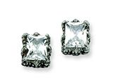 Chisel Stainless Steel Antiqued CZ Post Earrings style: SRE302