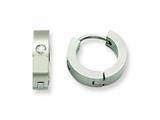 Chisel Stainless Steel CZ Brushed Hinged Hoop Earrings style: SRE343