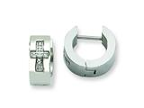 Chisel Stainless Steel CZ Cross Brushed and Polished Hinged Hoop Earrings style: SRE349