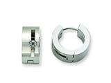 Chisel Stainless Steel CZ Brushed and Polished Round Hinged Hoop Earrings style: SRE354