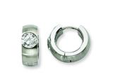 Chisel Stainless Steel Brushed and Polished CZ Hinged Hoop Earrings style: SRE355