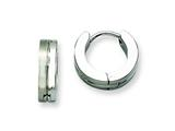 Chisel Stainless Steel Brushed and Polished Hinged Hoop Earrings style: SRE375