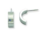 Chisel Stainless Steel Blue CZ Brushed and Polished Half Hoop Post Earrings style: SRE387