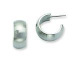 Chisel Stainless Steel CZ Brushed J Post Hoop Earrings style: SRE397