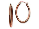 Chisel Stainless Steel Brown Ip Plated 40mm Oval Hoop Earrings style: SRE405