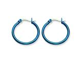 Chisel Stainless Steel Blue Ip Plated 26mm Hoop Earrings style: SRE424