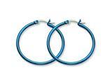 Chisel Stainless Steel Blue Ip Plated 32mm Hoop Earrings style: SRE425