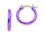 Chisel Stainless Steel Pink Ip Plated 15.5mm Hoop Earrings style: SRE429