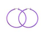 Chisel Stainless Steel Pink Ip Plated 48mm Hoop Earrings style: SRE434