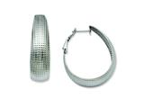 Chisel Stainless Steel Textured Oval Hoop Earrings style: SRE488