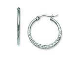 Chisel Stainless Steel 20mm Textured Hoop Earrings style: SRE493