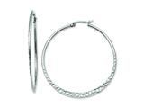Chisel Stainless Steel 50mm Textured Hoop Earrings style: SRE495