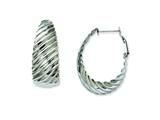 Chisel Stainless Steel 35mm Textured Oval Hoop Earrings style: SRE498