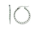 Chisel Stainless Steel 23mm Textured Hoop Earrings style: SRE502