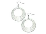 Chisel Stainless Steel Textured Circle Dangle Earrings style: SRE513